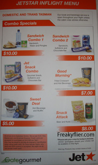 Jetstar Jetcafe Inflight Menu