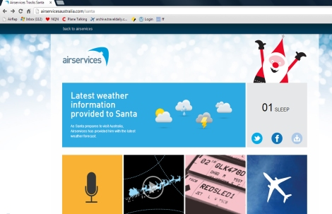 Airservices Australia Santa Website (Courtesy Air Services Austrralia)