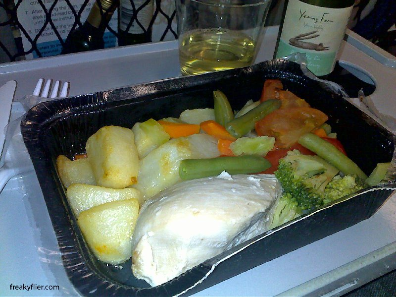 The dietary meal, steamed chicken and Vegetable Onboard Coutrylink Explorer