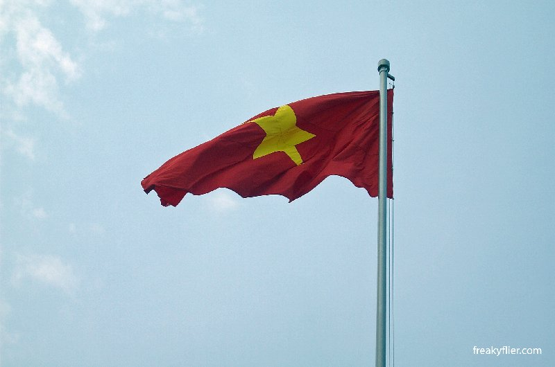 The flag of Vietnam, flying outside the Ho Chi Minh Mausoleum, Ha Noi