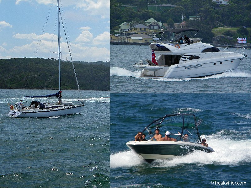 Cruisers and yachts enjoying New Years day on Sydney Harbour