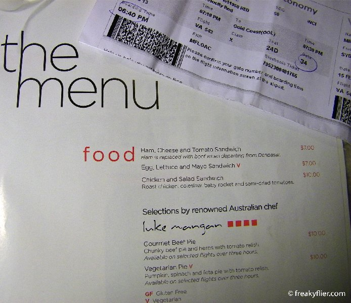 The food menu on Virgin Australia February 2012