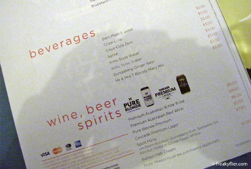 beverage menu on Virgin Australia February 2013