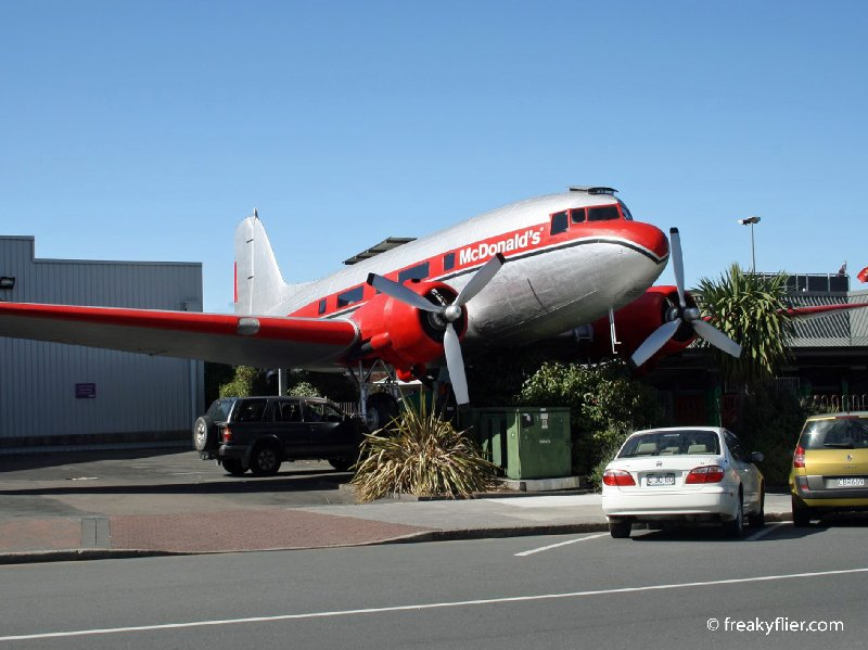 Douglas Commercial DC-3 at McDonald's, Lake Taupo, New Zealand