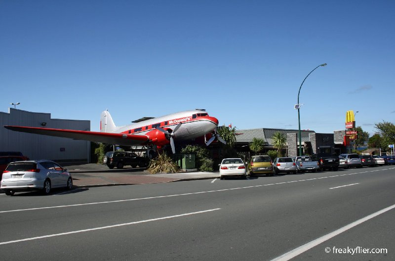 Douglas Commercial DC-3 (C-47A-65-DL), now at McDonald's, Lake Taupo, New Zealand