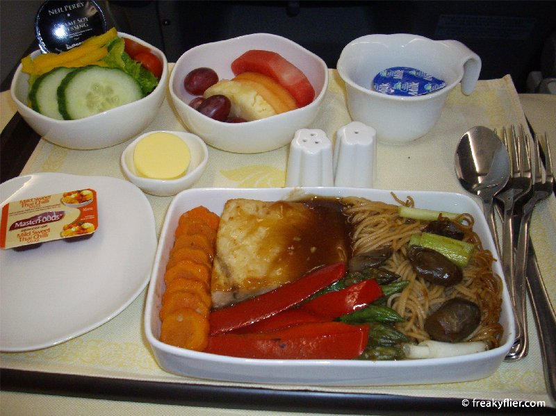 The 'light meal' of Soy Fish and noodles served before landing (note Neil Perry salad dressing