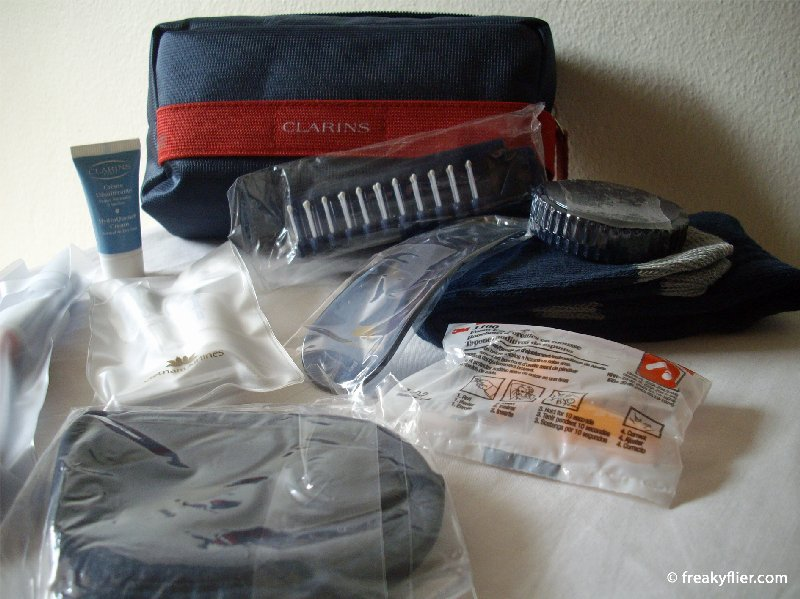 Clarins amenity kit handed to all Business Class passengers