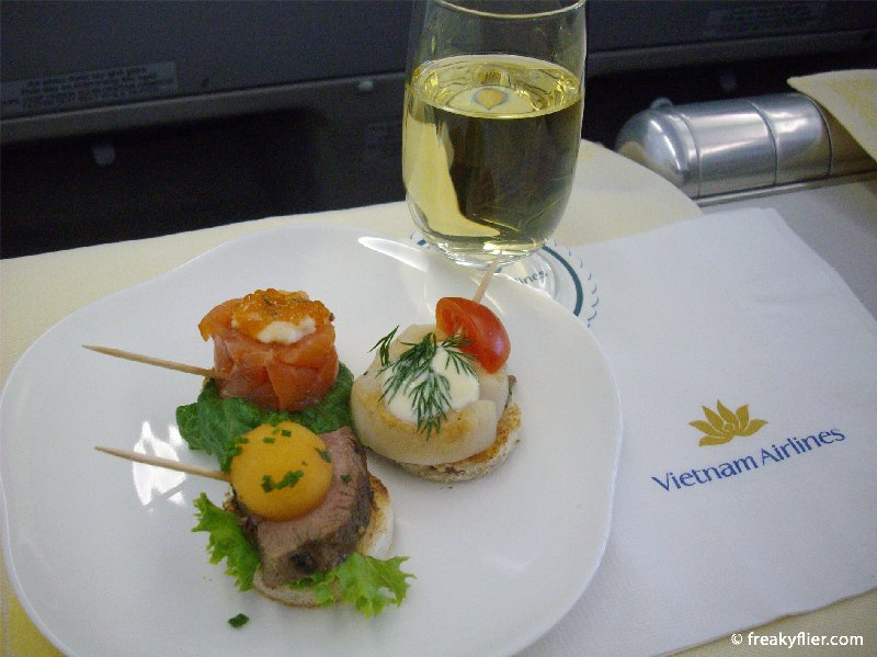 Amuse bouche, served with a French Sauvignon Blanc