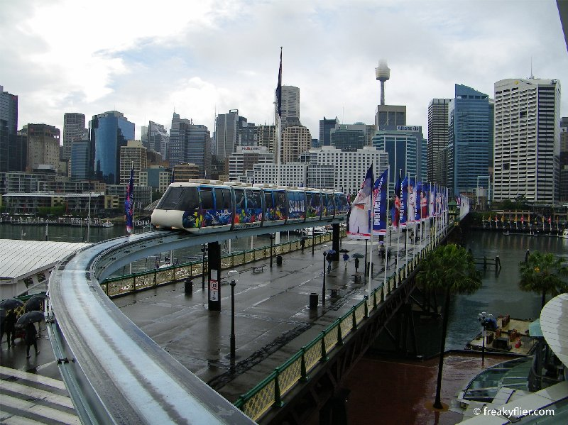 Sydney Monorail crossing the  Pyrmont Bridge enroute to Harbourside station