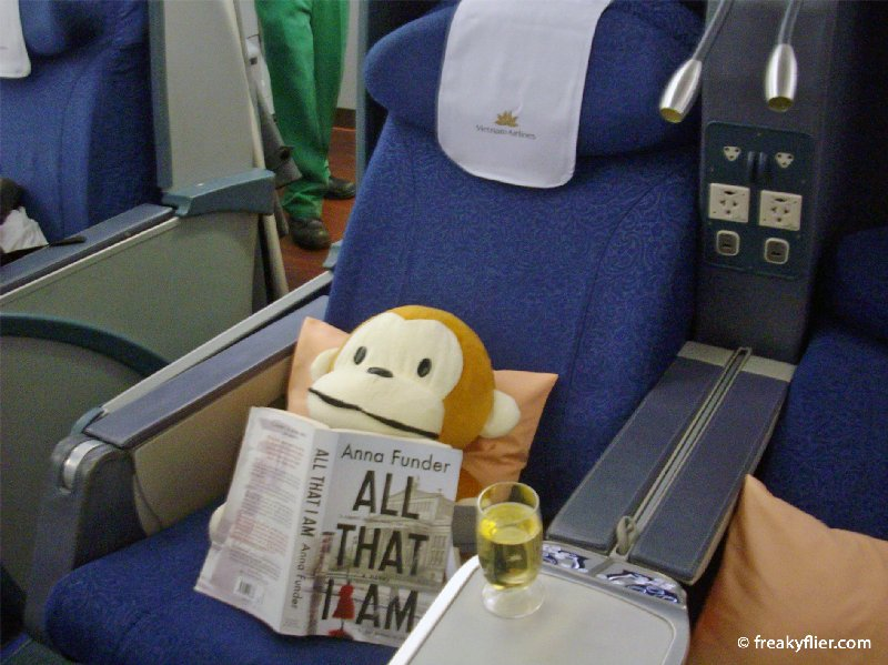 The Business Class seats recline flat to 170 degrees (but my seat-mate was comfortable enough)