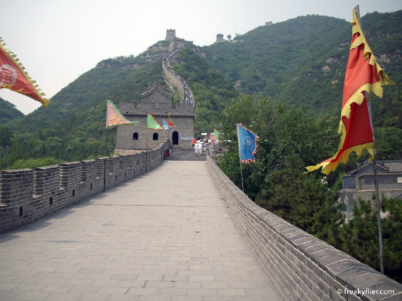 Standing on the wall in the valley at Juongguan Pass