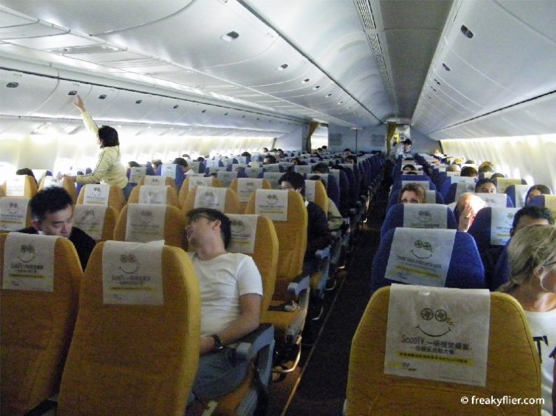 Economy class rear 'Yellow' and 'Blue' zones