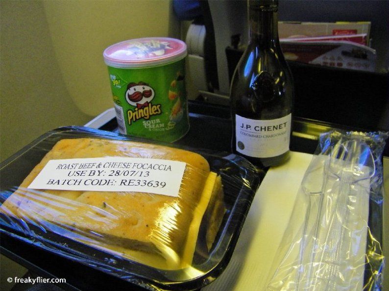 My meal - the beef focaccia, Pringles and a white wine