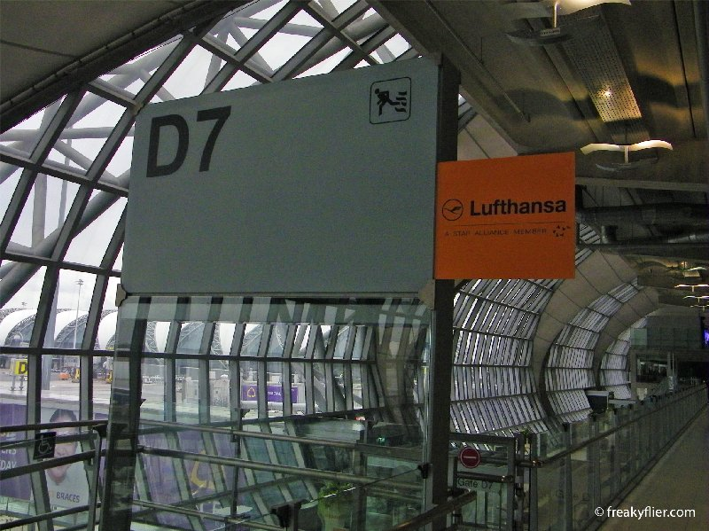 Gate D7 where Lufthansa was departing from at Bangkok Suvarnabhumi Airport