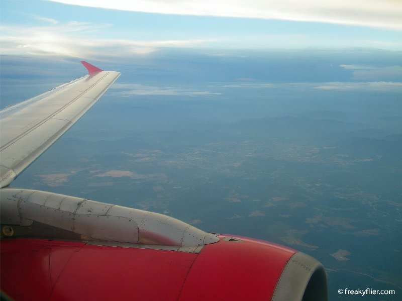 On decent into Singapore on Air Asia