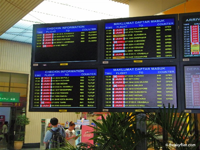 Departure board at KLIA LCCT showing mainly Air Asia and Air Asia X flights