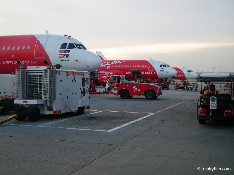 Air Asia Airbus a320's lines up at KLIA LCCT