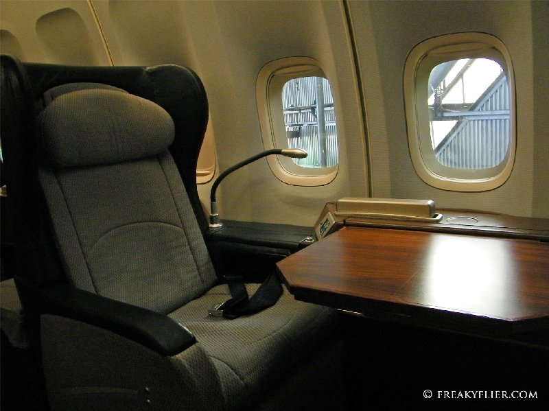 First Class with tray table on Qantas 747-400