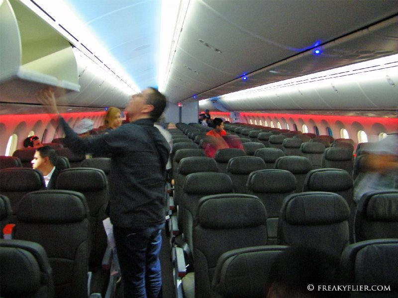 The main economy cabin on the 787-8 Dreamliner