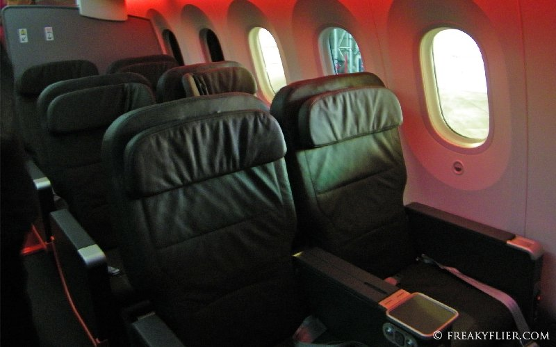 The Business Class cabin seats 21 passengers. Three rows of seven abreast seating.