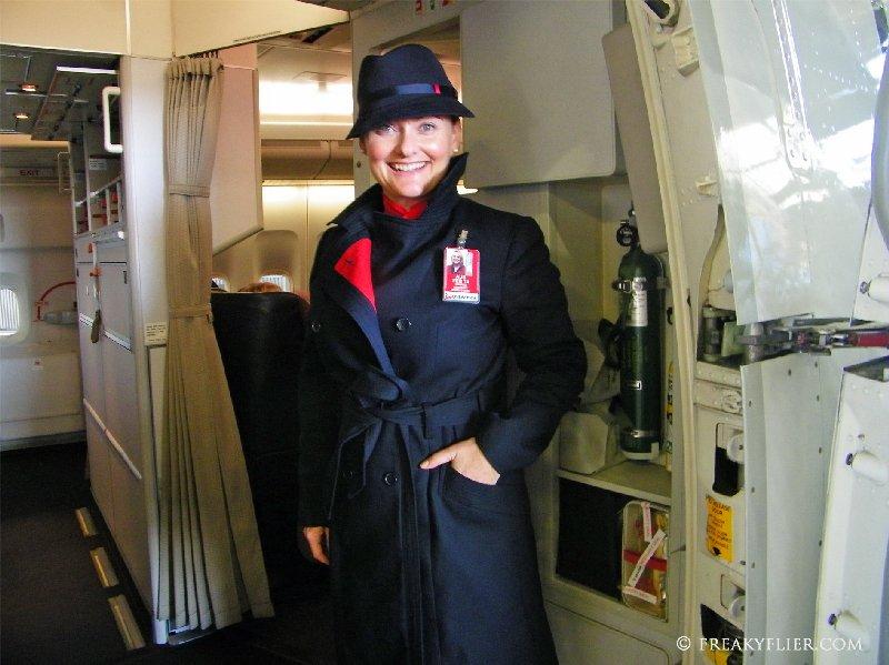 Flight Attendant Sarah in the new Qantas Uniform
