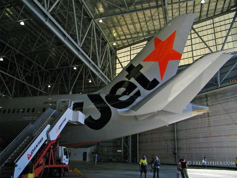 The gleaming tail of Jetstars first Boeing 787-8 Dreamliner