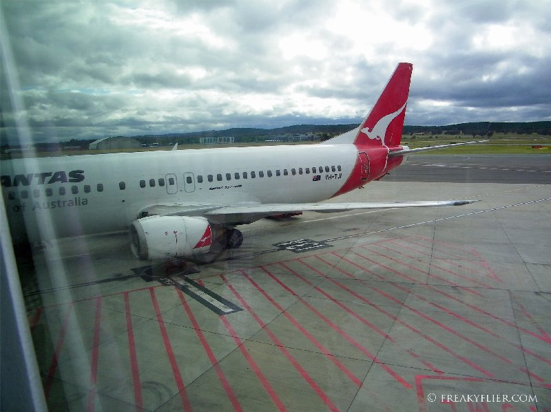 VH-TJI on arrival at Canberra Airport