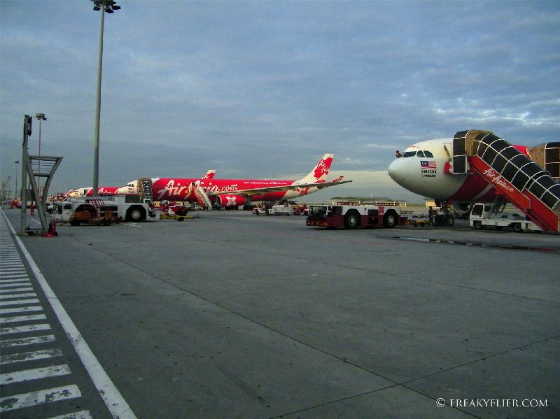 Air Asia X' Aircraft lined up at KLIA LCCT ready for departure