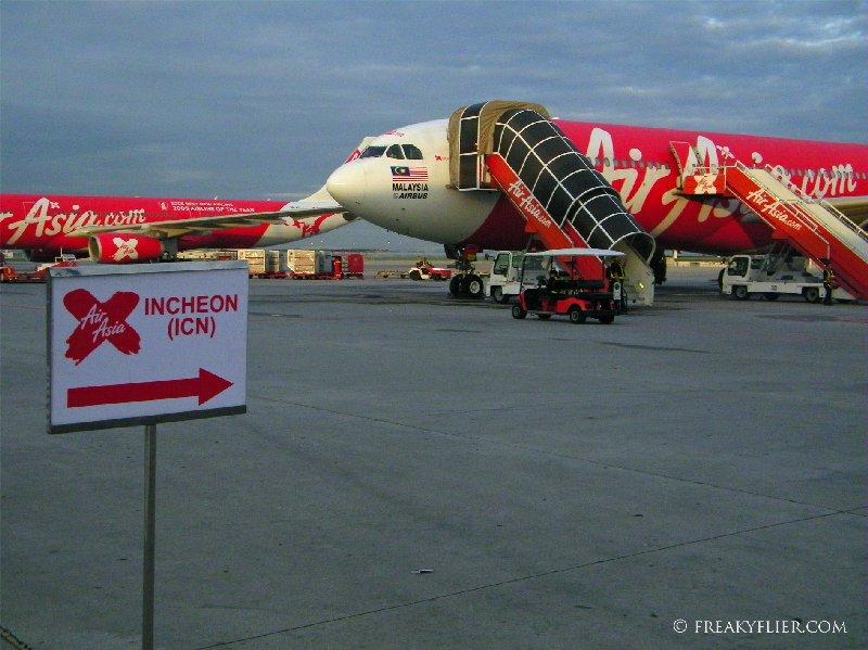 Boarding for Seoul Incheon - AIr Asia X Airbus a330-300, 9M-XXA