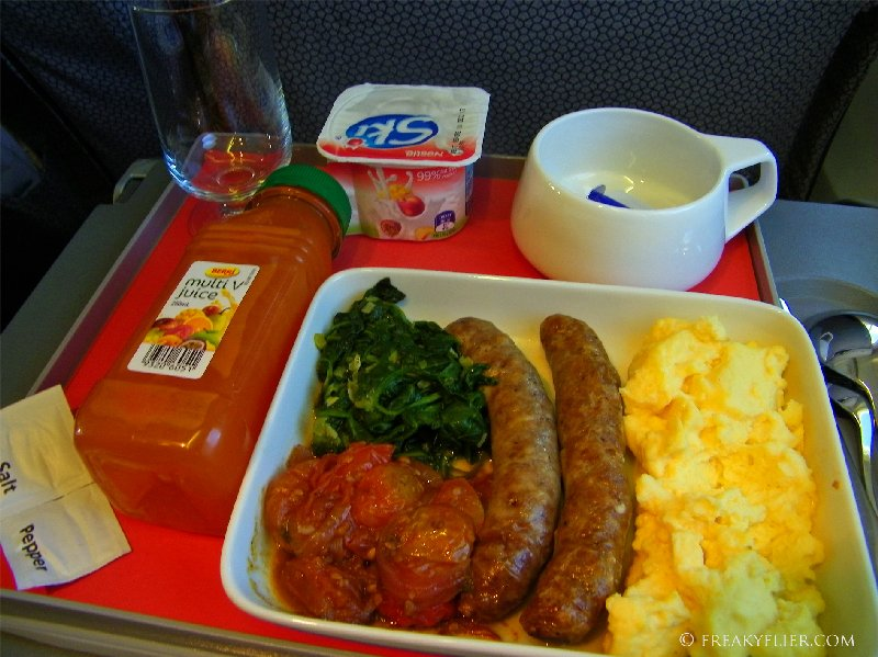 The hot breakfast in Business Class Sydney to Canberra