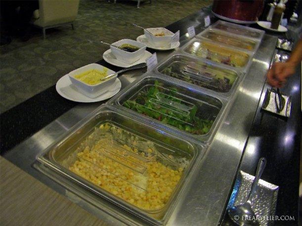The salad bar at the HUB Lounge