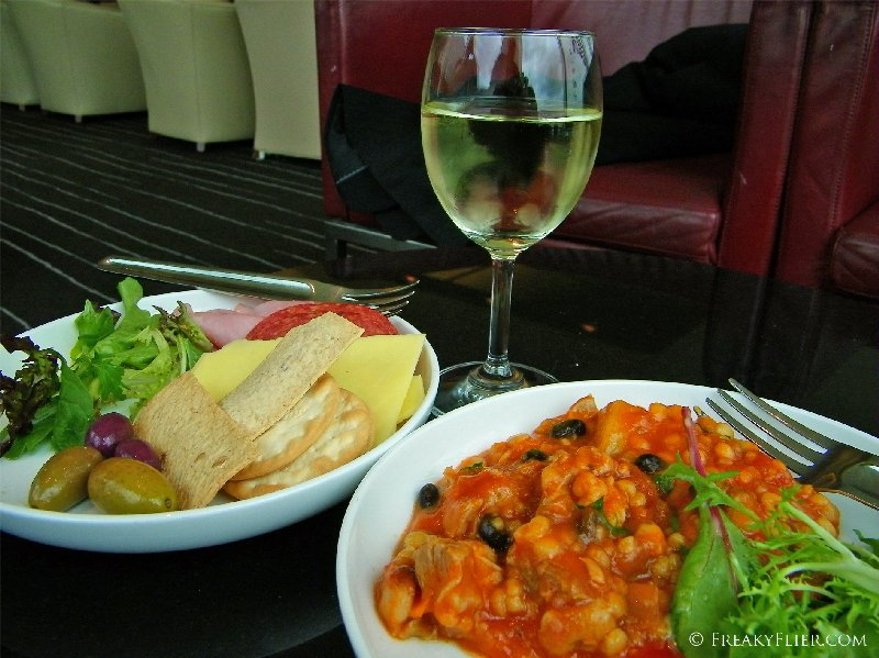 Food and drink from the buffet at The Qantas CLub, Melbourne