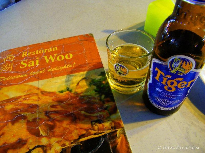 Restauran Sai Woo menu and a Tiger beer