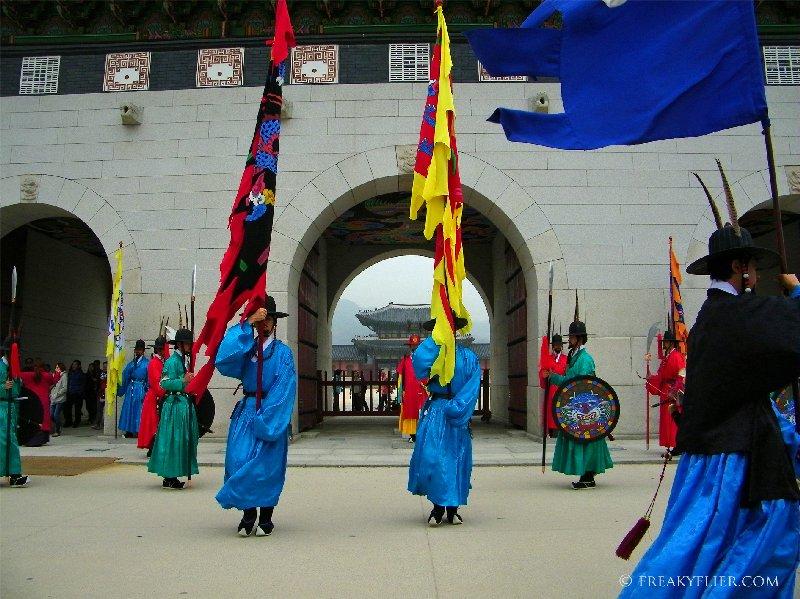 The changing of the Guard outside Gwanghwamun Gate at Gyeongbokgung Palace