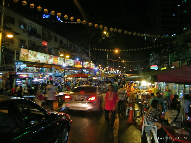The street comes alive after dark