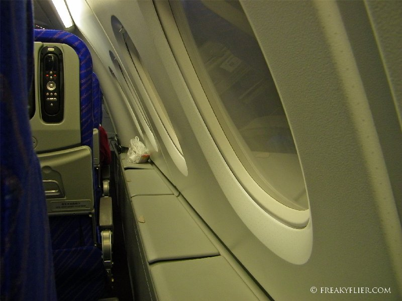 Window storage in Economy Class on the upper deck of the Airbus A380