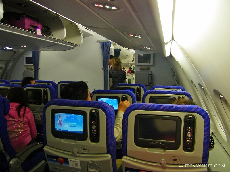 Economy Class at the rear of the upper deck on China Southern Airlines A380