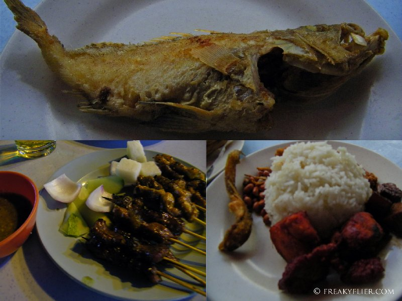 My dishes - Chicken and Beef Satay, Nasi Lemak with Ikan Bilis, Chicken Rendang and Deep Fried Whole Fish