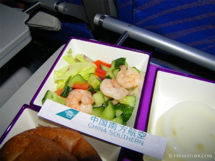 Side salad with shrimp on China Southern Airlines