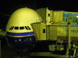 China Southern Airlines Airbus A380 ready for boarding at Guangzhou International Airport