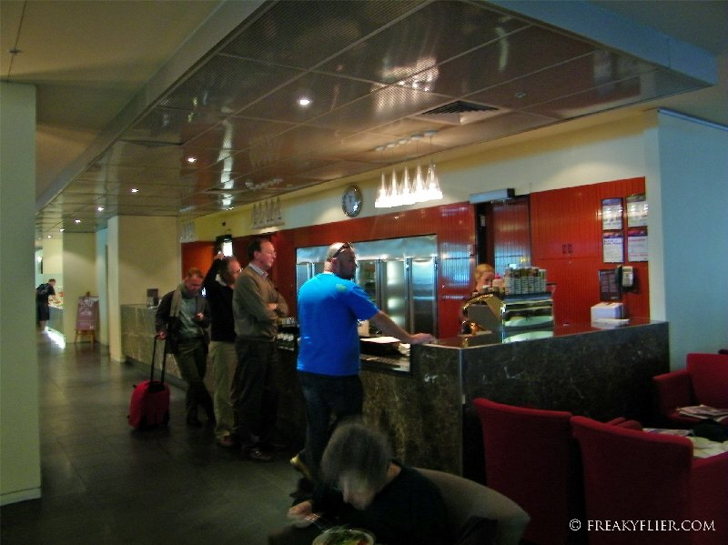 Main bar with self service wine bar