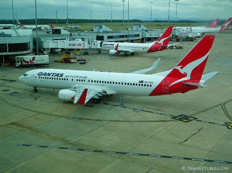 My arriving aircraft and another 737 in the foreground as seen from The Qantas Club, Melbourne