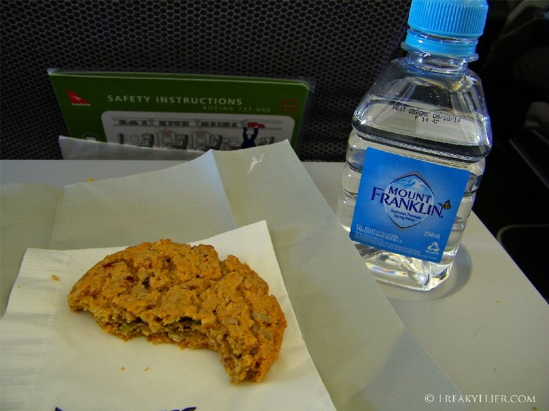 Water with my biscuit on board Qantas flight to Melbourne