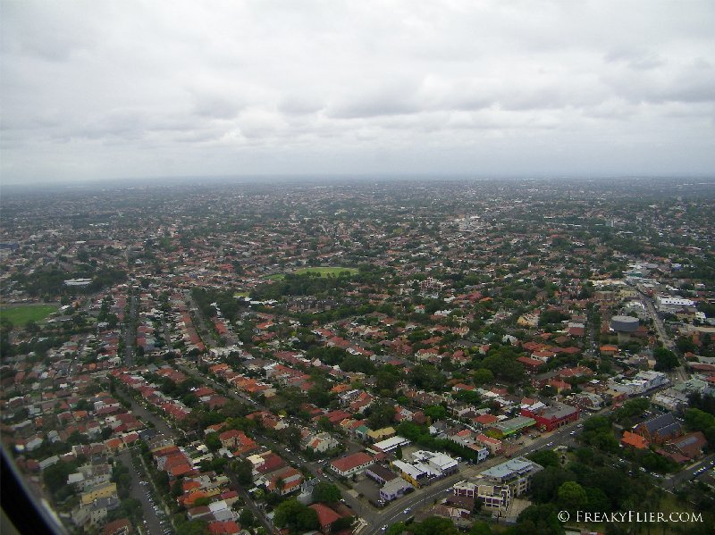 Coming in over the suburbs of Sydney