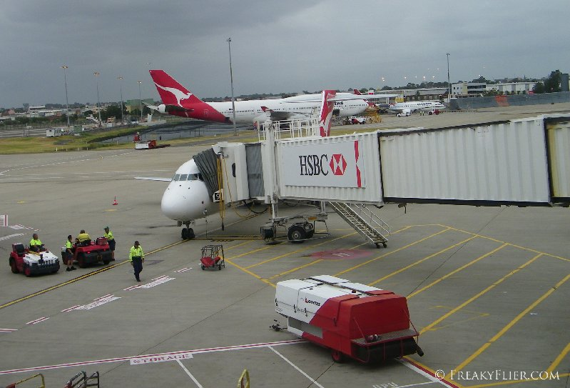 The small jet after arriving at Sydney Airport Terminal 3