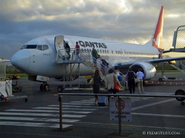 Qantas Airways Boeing 737-800 ready for boarding at Gold Coast's Coolangatta Airport