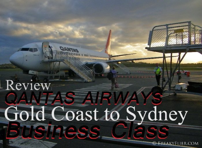 Review: QANTAS AIRWAYS Gold Coast to Sydney, Business Class