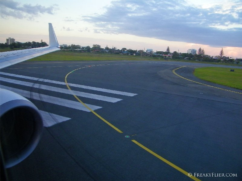 About to take off from Gold Coast Coolangatta Airport