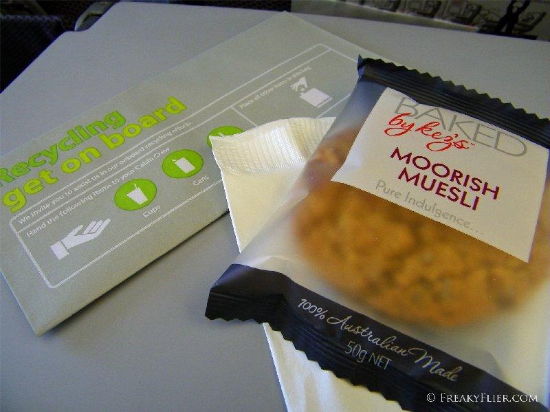 Morning tea on board Qantas flight to Melbourne