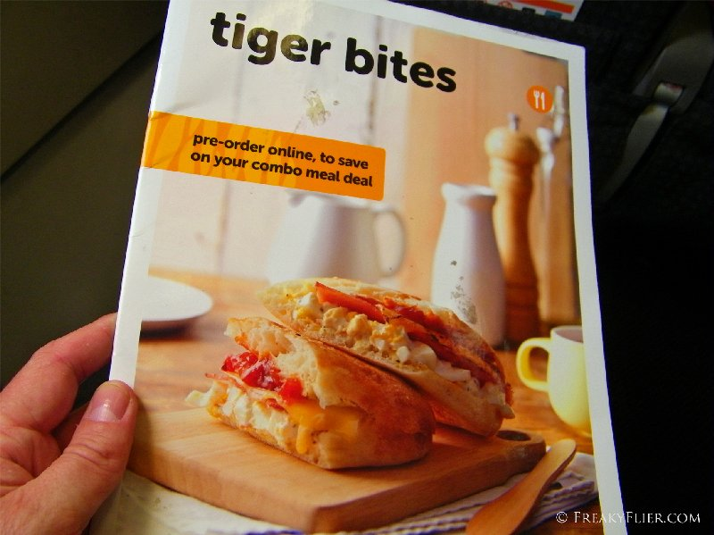Tiger bites menu for purchases available on board